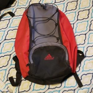 Adidas red, black and gray backpack